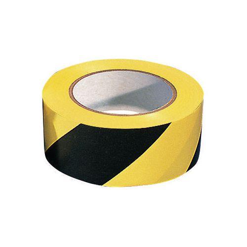 Tape  Warning 6 Rolls Of Black/ Yellow Width 50mm