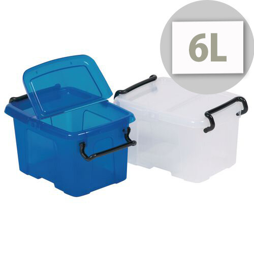 Strata Smart Box 6L Transparent Boxes with Secure Folding Lids