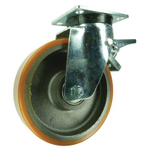 100mm Swivel Castor With Brake Cast Iron/Polycarbonate