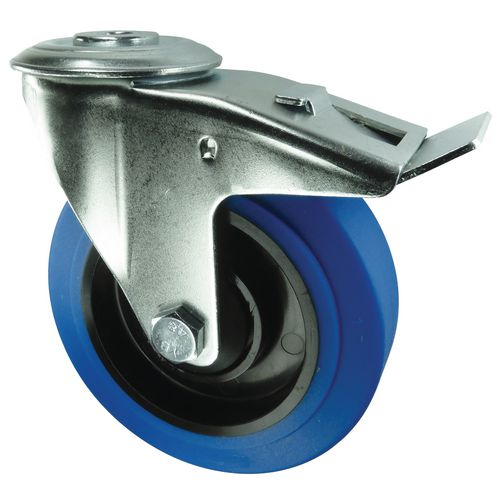 125mm Swivel Castor With Brake Single Hole Fixing Rubber/Steel 130Kg Load Capacity