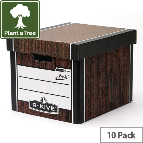 Premium Presto Tall Storage Box Woodgrain HxWxD mm: 303x342x400