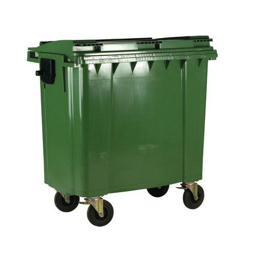 4-Wheel Wheelie Bin With Lockable Lid 1100L Green
