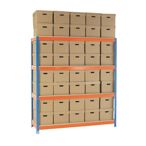 Heavy Duty Painted Archive Unit Plain Box Height 2100mm Shelf Size D450mm With 40 Archive Boxes