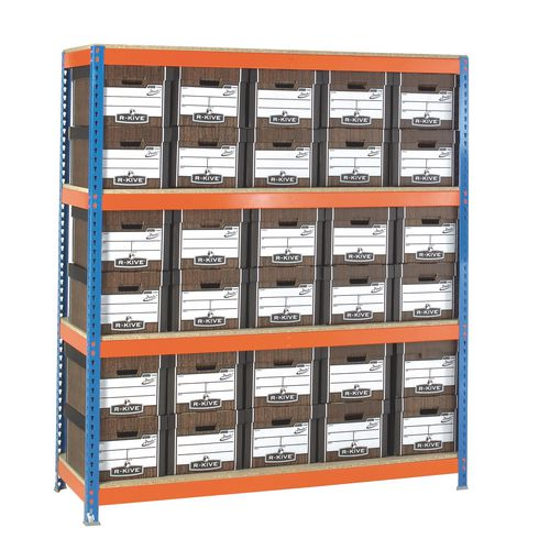 Heavy Duty Painted Archive Unit Woodgrain Box Height mm 2000 Shelf Size D450mm With 30 Archive Boxes
