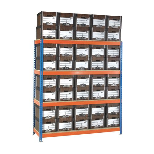 Heavy Duty Painted Archive Unit Woodgrain Box Height mm 2000 Shelf Size D900mm With 80 Archive Boxes