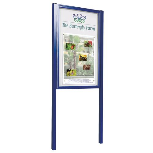 Blue A2 (4Xa4) Size Portrait Tradition Outdoor Noticeboard On Posts