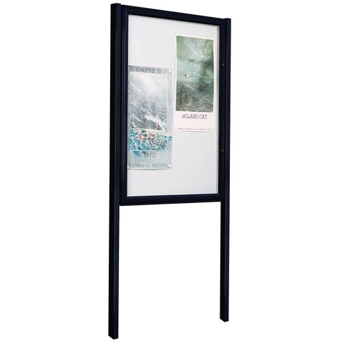 Black A2 (4Xa4) Size Portrait Tradition Outdoor Noticeboard On Posts