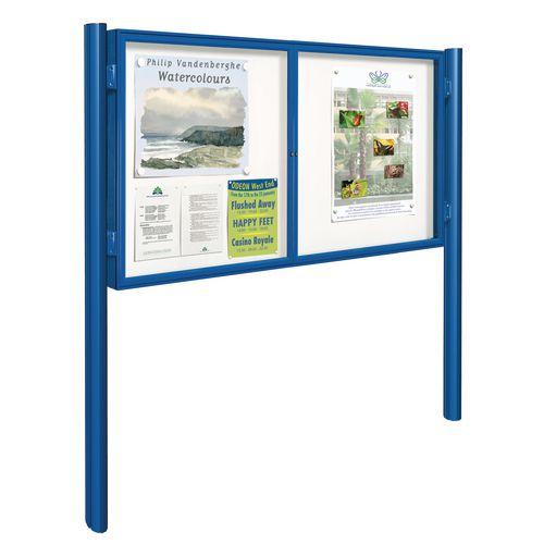 Blue 8Xa4 Dual-Door Tradition Outdoor Noticeboard On Posts