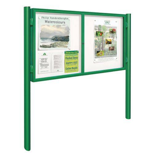 Green 8Xa4 Dual-Door Tradition Outdoor Noticeboard On Posts