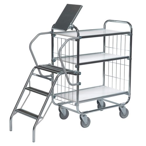 Flexible 3 Shelf Trolley With Ladder