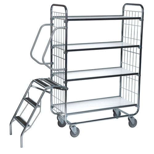 Flexible 4 Shelf Trolley With Ladder