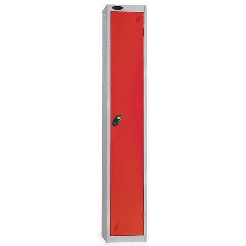 1 Door Locker With Coin Retain Lock Silver Body Red Hxwxd: 1778x305x380mm