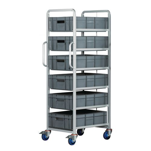 Euro Container Trolley With 6x(600X400X170mm) Euro Containers Braked