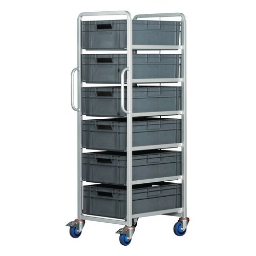 Euro Container Trolley With 6x(600X400X200mm) Euro Containers Braked
