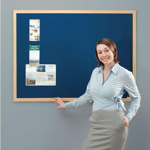 Eco-Friendly Noticeboard 900x600mm Light Oak Frame Blue Board