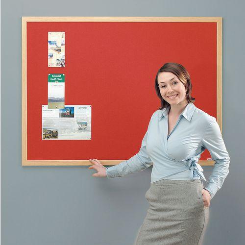 Eco-Friendly Noticeboard 900x600mm Light Oak Frame Red Board