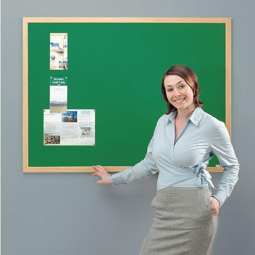 Eco-Friendly Noticeboard 900x600mm Light Oak Frame Green Board