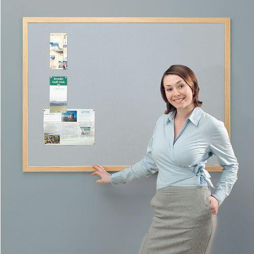 Eco-Friendly Noticeboard 1200x900mm Light Oak Frame Grey Board