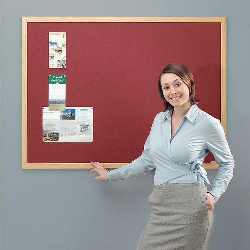 Eco-Friendly Noticeboard 2400x1200mm Light Oak Frame Burgundy Board