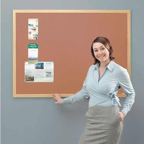 Eco-Friendly Noticeboard 2400x1200mm Light Oak Frame Cork Board