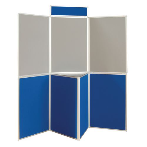 Lightweight Folding Display Inc Bag Black &Blue/Grey Wxdxh: 25x1800x1800 7 Panel Plus Table Top