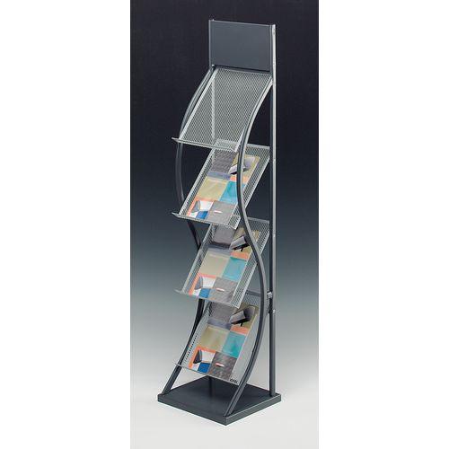 Wave Freestanding Leaflet Dispenser Black WxDxH: 310x350x1530mm For A4 Sheets