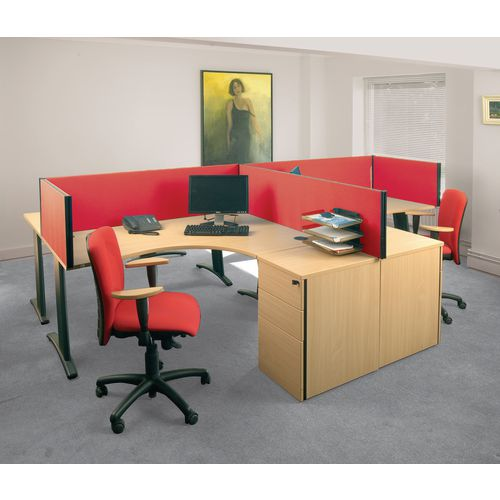 Busyscreen Desk Top Rectangular Screen Red Wxdxh: 32x1400x400