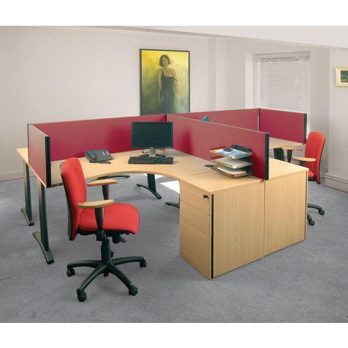 Busyscreen Desk Top Rectangular Screen Burgundy Wxdxh: 32x1400x4