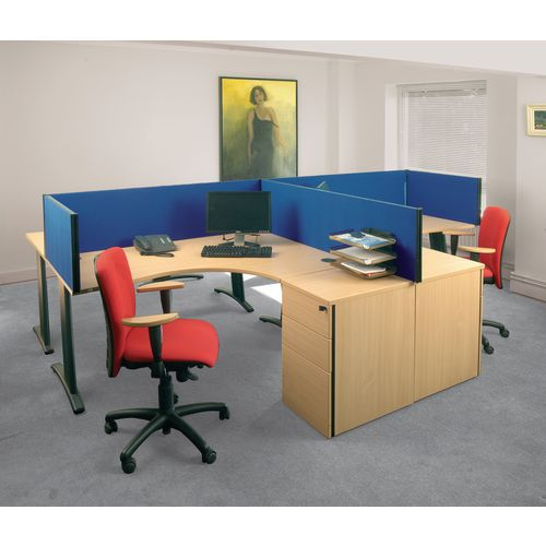Busyscreen Desk Top Rectangular Screen Blue Wxdxh: 32x1200x400