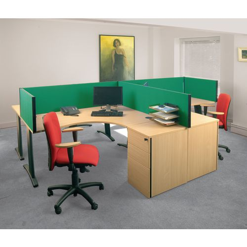 Busyscreen Desk Top Rectangular Screen Green Wxdxh: 32x1200x400