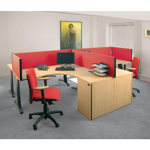 Busyscreen Desk Top Rectangular Screen Red Wxdxh: 32x1000x400