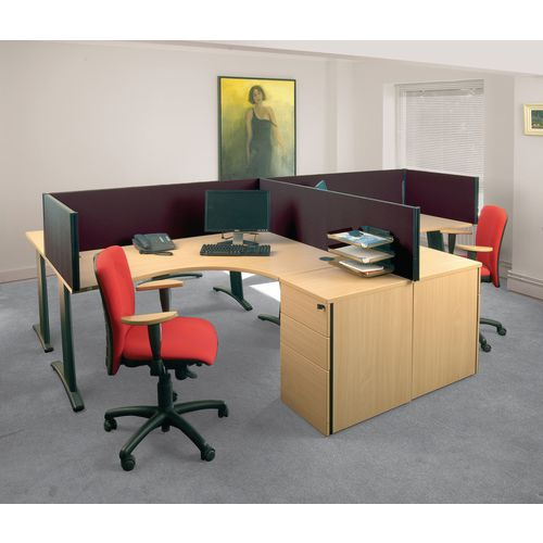 Busyscreen Desk Top Rectangular Screen Black Wxdxh: 32x1000x400
