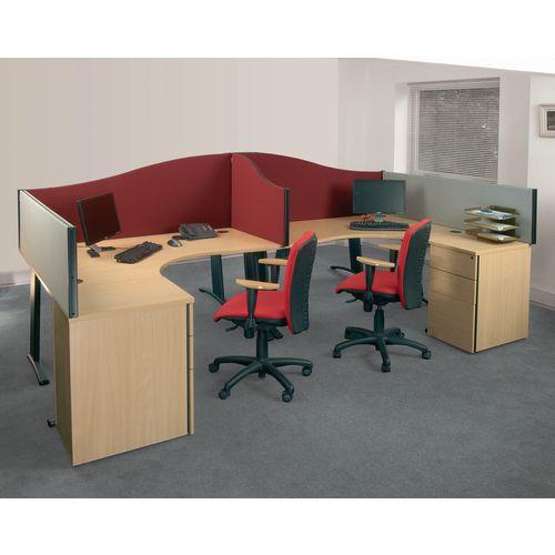 Busyscreen Desk Top Wave Screen Burgundy Wxdxh: 32x1800x600