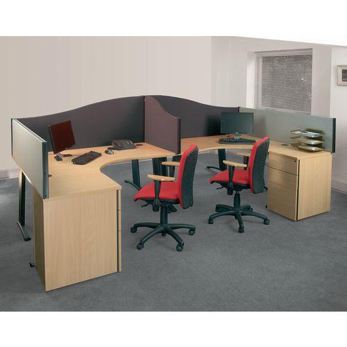 Busyscreen Desk Top Wave Screen Dark Grey Wxdxh: 32x1400x600