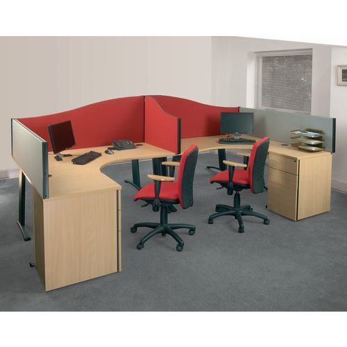 Busyscreen Desk Top Wave Screen Red Wxdxh: 32x1200x600