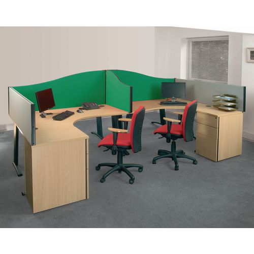 Busyscreen Desk Top Wave Screen Green Wxdxh: 32x1200x600