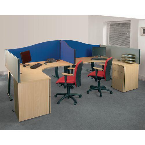 Busyscreen Desk Top Wave Screen Blue Wxdxh: 32x1000x600