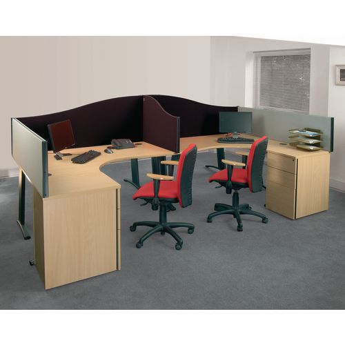 Busyscreen Desk Top Wave Screen Black Wxdxh: 32x1000x600