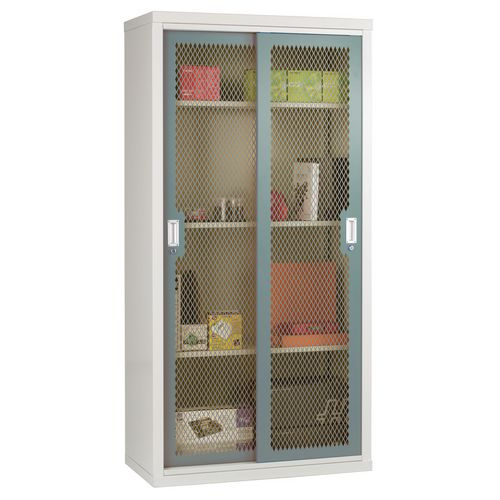 Sliding Door Mesh Cabinet 1830x915x460 Blue