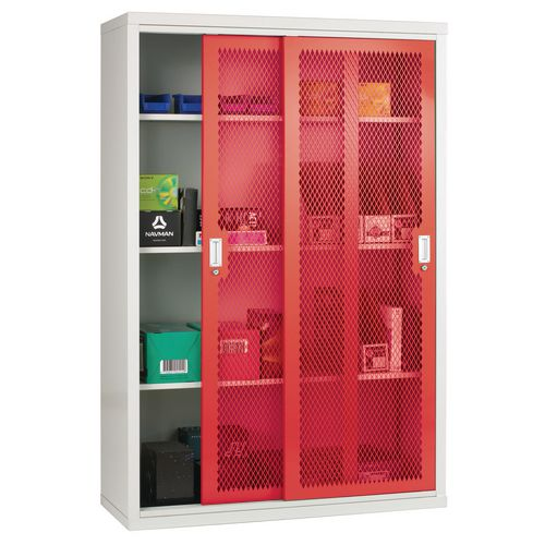 Sliding Door Mesh Cabinet 1830x1220x460 Red