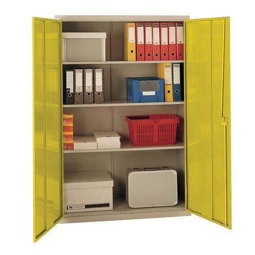 Cupboard Large Volume Light Grey Body/Yellow Doors