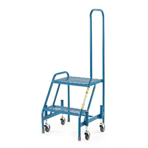 Retractable Wheel Mobile Step 2 Step With Single Looped Handrail Mesh Tread Blue