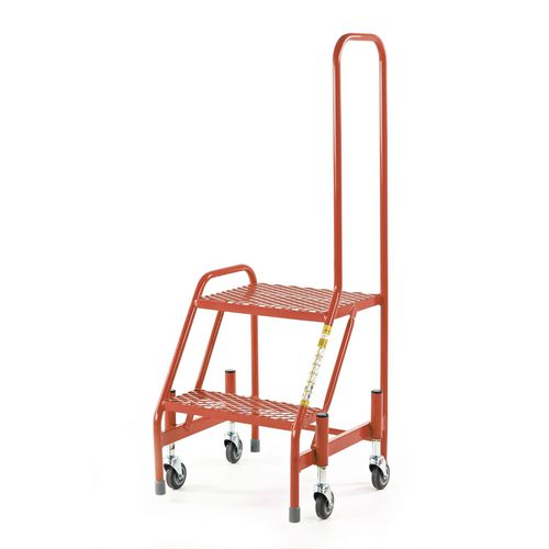 Retractable Wheel Mobile Step 2 Step With Single Looped Handrail Mesh Tread Red