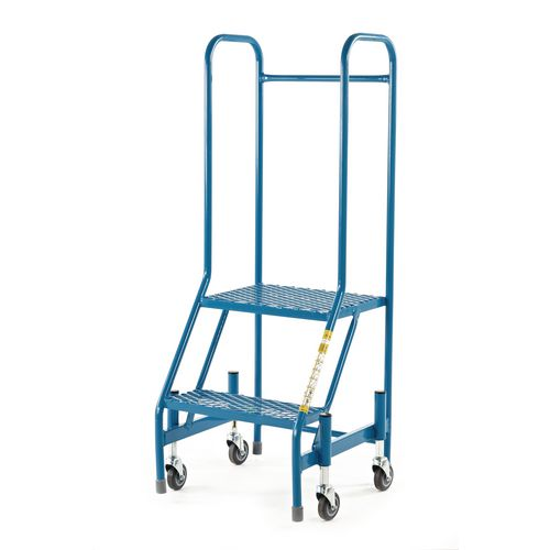 Retractable Wheel Mobile Step 2 Step With Full Handrail Mesh Tread Blue