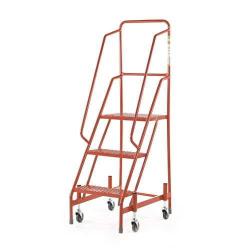 Retractable Wheel Mobile Step 5 Step With Full Handrail Mesh Tread Red