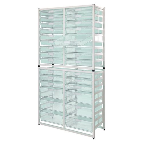 Static Storage Tray Unit White Metal With 6 A3 Deep And 24 A3 Shallow Clear Trays