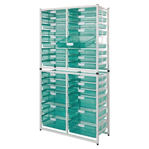 Static Storage Tray Unit White Metal With 6 A3 Deep And 24 A3 Shallow Tinted Green Tray