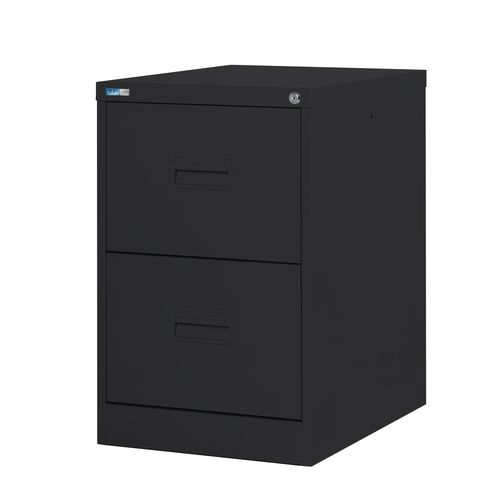 Filing Cabinet Midi Black Steel HxWxD: 711x458x622mm 2 Filing Drawers