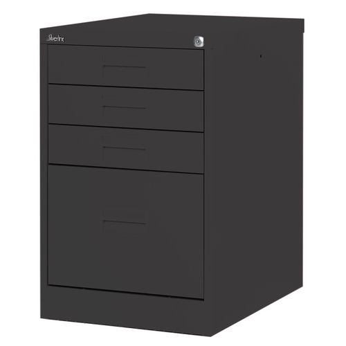 Filing Cabinet Midi Black Steel HxWxD: 711x458x622mm 1 Filing Drawer &3 Shallow Stationery Drawers