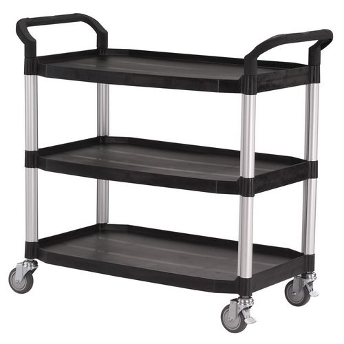Large 3 Shelf Service Cart Open Sided Cart Black
